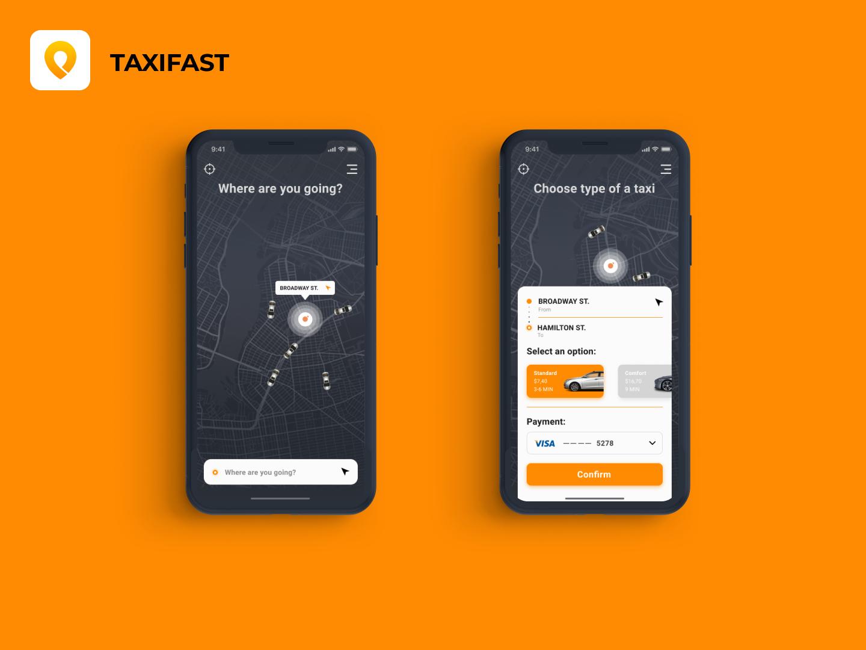 Taxi App dark version taxi taxi app mobile app interace app ui ux ui ux design
