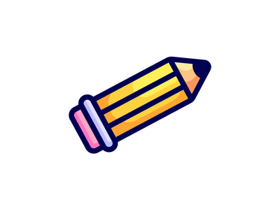 Pencil wood illustration shaded icon outline