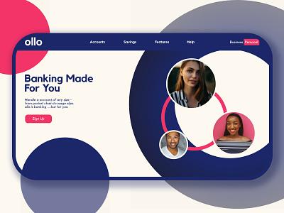 ollo Landing Page start up bank landing page ux design uxdesign ux branding dailyui ui adobe blue illustration
