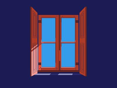 Through The Window light woods frames purple brown orange blue illustration illustrator sun old style wood frame glass shadow shade artwork window windows