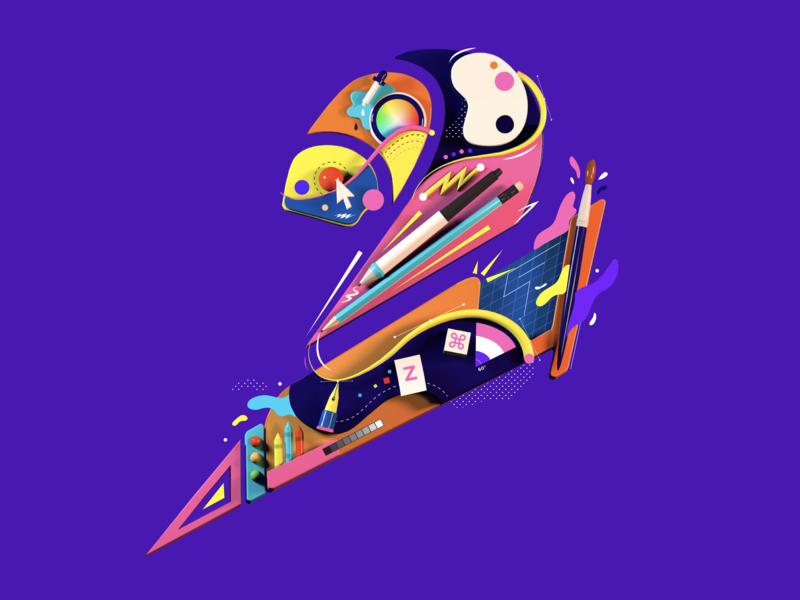 Artsy Two two c4d 3d fresh typography logo illustration design 2d