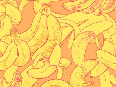 Bananarama banana pattern textile pattern textile design art licensing surface pattern repeat pattern whimsical bananas fruit tropical illustration pattern