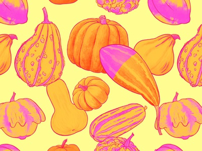 Gourds Galore Summer textile design fashion surface design repeat pattern pattern gourds pumpkins art licensing illustration