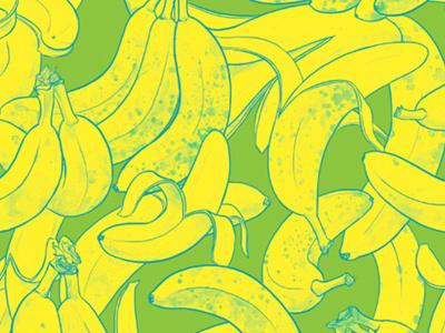 Bananrama -Green fruit tropical textile design fashion surface design repeat pattern pattern bananas art licensing illustration