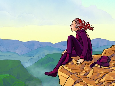 Cliff With A View cliff serenity book illustration colorful landscape editorial illustration illustration