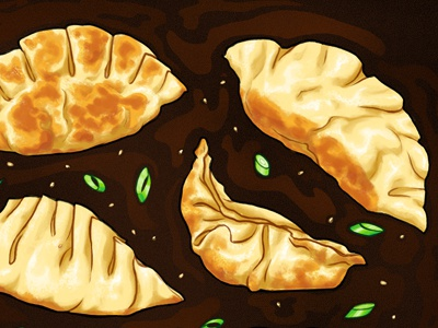 Potstickers asian food delicious food soy sauce potstickers dumplings illustration food illustration