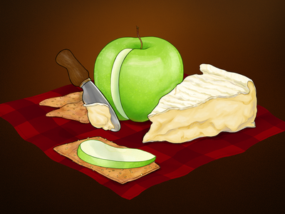 Camembert advertising apple packaging realistic snack cheese camembert illustration food illustration