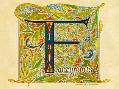 F for 'Fancypants' illustrated type fancypants f letter f calligraphy flourishes fancy lettering art hand lettering illuminated manuscript illuminated