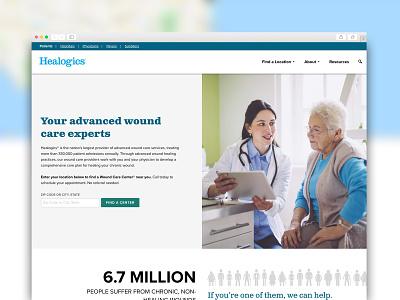 Healogics Corporate Website Design accessible health care web design healthcare corporate website website design website header