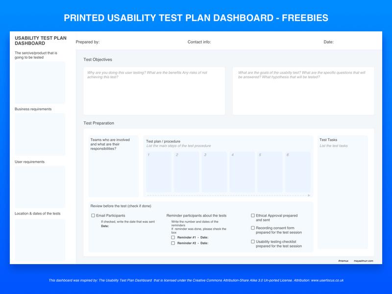 Printed Usability Test Plan Dashboard pdf sketchapp download ux research usability testing usability ux user experience © maya el murr freebies freebie