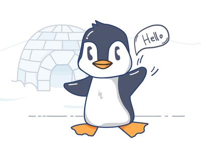 Hello Penguin first trial hello penguin outline illustration