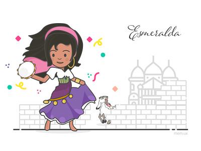 Esmeralda: The Hunchback of Notre Dame confetti vector illustration © maya el murr the hunchback of notre dame esmeralda disney princess disney character disney