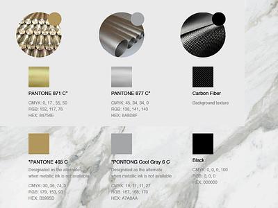 PPM Color Palette sliver 465c 877c 871c pantone gold fiber carbon titanium yacht color branding
