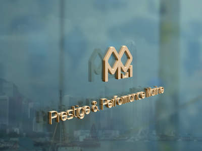 PPM Logo on Glass Wall sliver gold fiber carbon titanium yacht logo branding