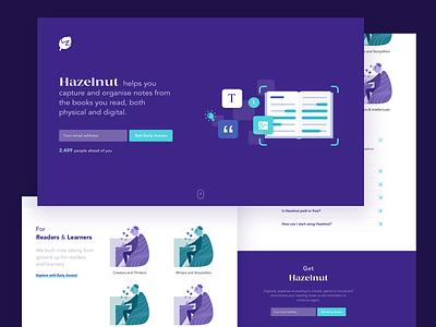 Hazelnut Landing and Home Page landing web design illustration ux ui