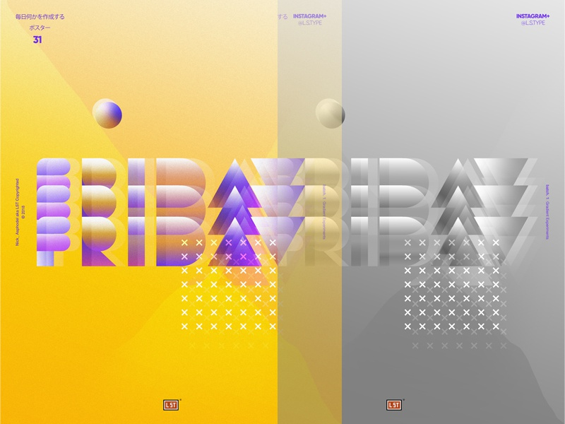 Firday Poster website web icon app poster art type 3d ux ui vector illustration design abstract type design poster lettering gradient poster design typography graphic design
