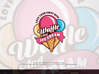 Mascot logo 3d mockup waffle logo happy logo colorful logos mascot design branding illustration logo best logo creative cream mascot logodesign mascotlogo ice cream logo mascot logo
