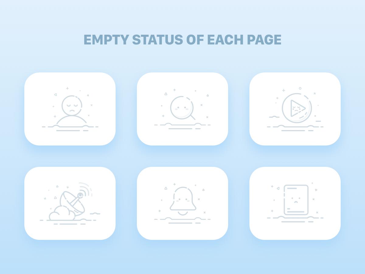 Empty Status Of Each Page paper message no signal no network internet video search people empty states error empty illustration 设计 icon ui design joyo app