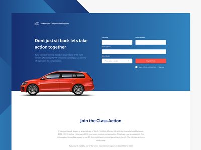 VW Landing Page ui ux lead generation volkswagen web landing page cars