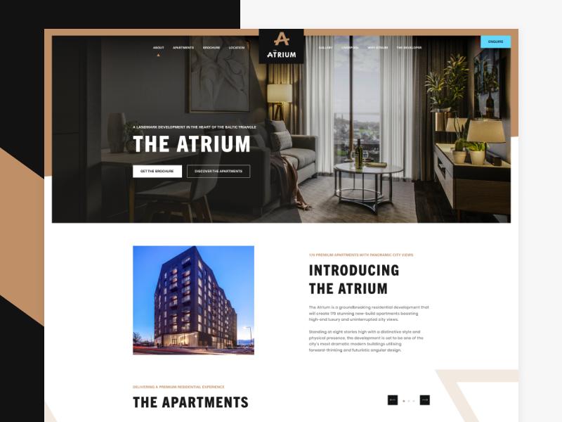 The Atrium liverpool abstract landing page building development atrium ux ui