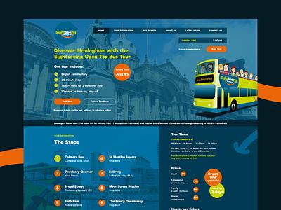 Sightseeing commercial uk website blue orange desktop homepage tour ux ui