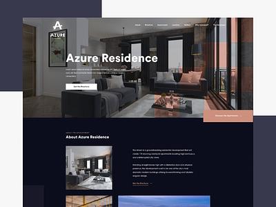 Azure Residence cgi blue dark squares abstract website landingpage property ux ui