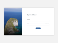 Simple login page for travel website.