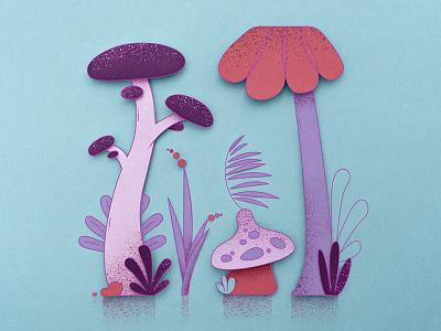 Mushroom Forest texture plants forest illustration vector illustrator papercraft