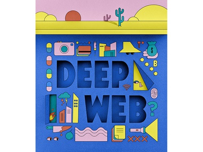 Deep Web paper shapes abstract illustration vector illustrator papercraft