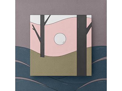 Landscape landscape forest paper shapes abstract illustration vector illustrator papercraft