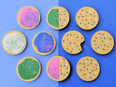 National Sugar Cookie Day cookies saturated color paper shapes abstract illustration vector illustrator papercraft