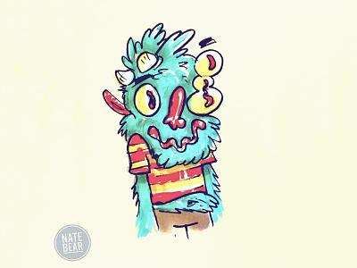 Monster Sketch teal furry sketchbook monsters character design cartooning ink drawing ink