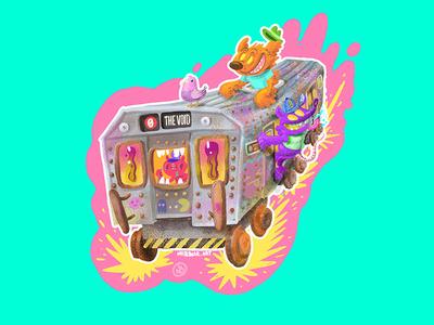 Subway Sam ! summer neon comsters characters trains brooklyn cartooning illustration subway nyc