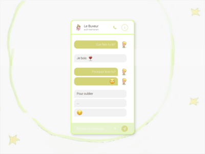 The Tippler & The Little Prince chat message directmessaging green tippler thelittleprince mobile app ux ui dailyui013 dailyui