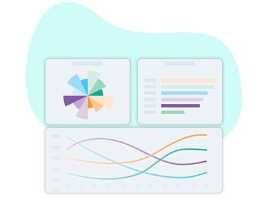 Product sample aka teaser for landing page - Platypus minimal teaser stats data piechart graphs hrtool desktop startup saas ux illustration uiux ui