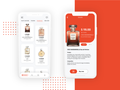 Coco chanel products UI Design