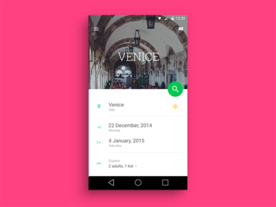 Hotel search app concept [Material Design] material design android l android search hotel booking geolocation guests list fab