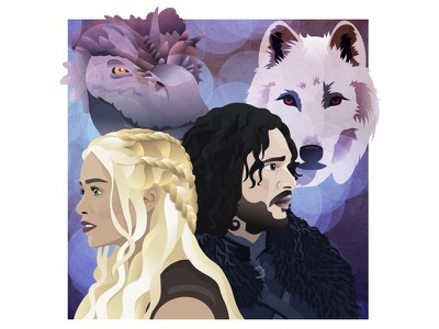 Daenerys and Jon illustration daenerys jon snow game of thrones got