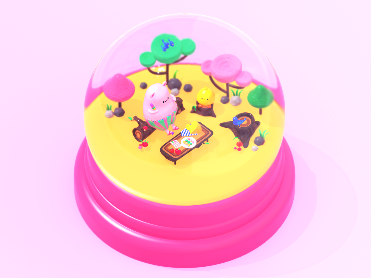 The First Day of Spring colour color redshift 햄찌 캐릭터 hamster friends hamzzi garden spring arttoy pink character design cute character artwork c4d 3d