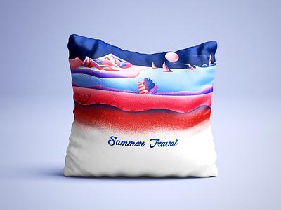 Summer Travel | pillow 일러스트 여행 여름 eider cushion surfing holiday travel summer pillow artwork illustration design