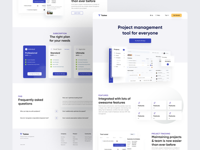 Taskee : Landing Page Exploration landing page web user experience project management webapp dashboad uiux uidesign userinterface application task management app
