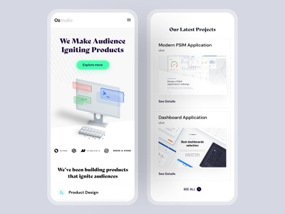 Ozstudio : Mobile Responsive vector illustration web branding mobile responsive ux ui user interface design inspiration minimal mobile ui agency landing page