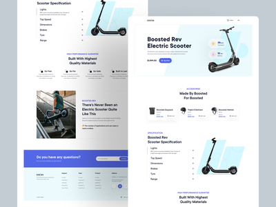 Product Landing Page : Visual Exploration website ux ui electric scooter boosted web design web scooter userinterface product page