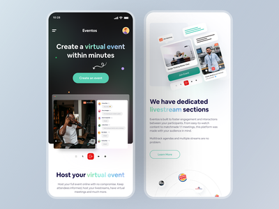 Virtual Event Platform I Mobile responsive user interface mobile app mobile ui minimal ui ux design inspiration marketing page landing page design web design web virtual event event mangement event branding event app