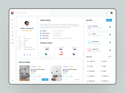 Real Estate Dashboard - Agent Profile page user experience agency profile page home minimal clean ui agent dashboard real estate agent property management realestate real estate dashboard design dashboard