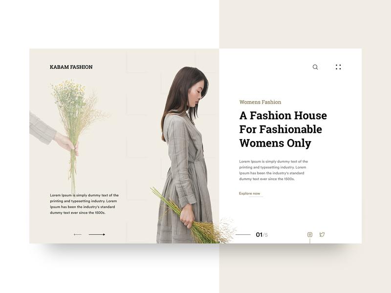 Kabam Fashion: Header Exploration ui design design web user experience user interface ui ux ux ui design inspiration clothing brand fashion header exploration header