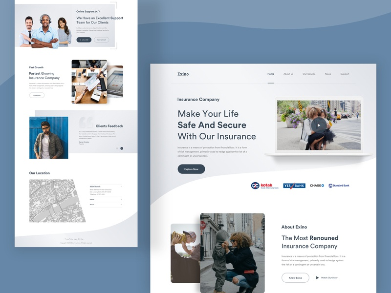 Exino Insurance : Landing Page Concept ui design design landing page website web design creative  design web ui user experience user interface ui ux ux ui design inspiration web minimal insurance company insurance