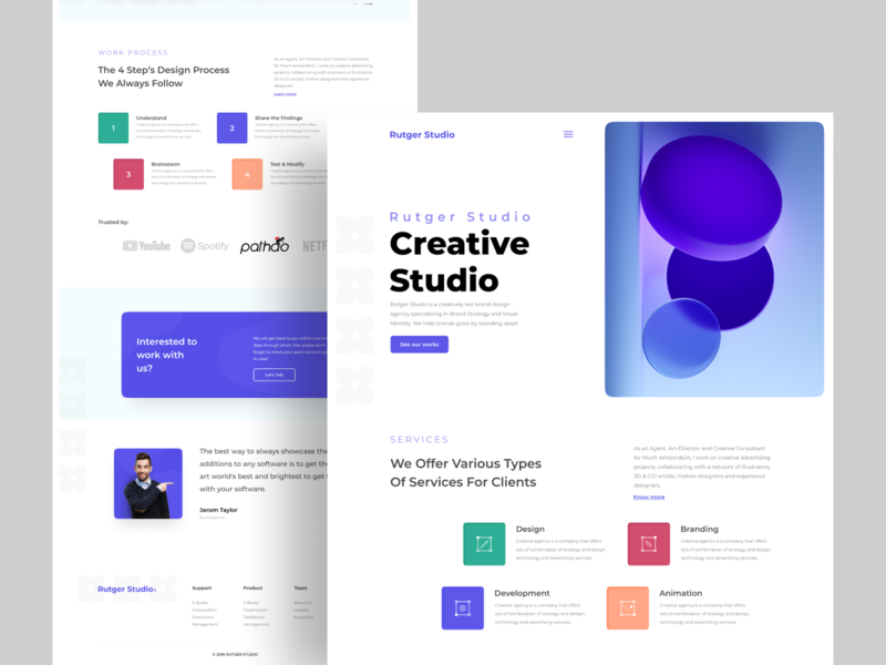 Creative Studio : Home Page Exploration illustration creative  design ui ux user experience design inspiration user interface c4d minimal homepage website web studio creative agency