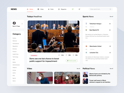 News Portal : Part 1 website ui ux web ux ui news portal creative  design minimal design inspiration user interface web interface web application