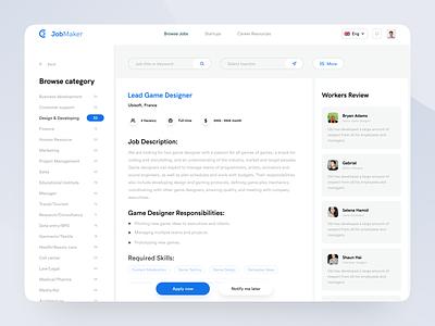 JobMaker : Part 2 website appdesign minimal user experience design inspiration uiux userinterface ui portals webapp jobsite jobs